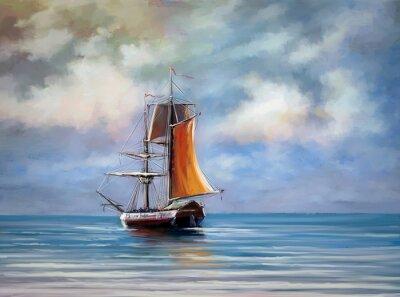 Canvastavlor Fartyg, hav. Landskap. Oljemålningar