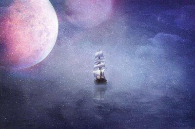 Canvastavlor fartyg i det väldiga universum bakgrunden illustration