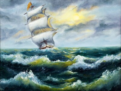 Canvastavlor Fartyg i havet