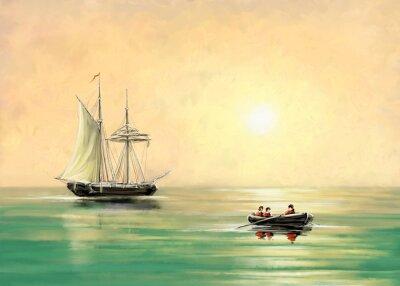 Canvastavlor Fartyg och båt, havslandskap, oljemålningar