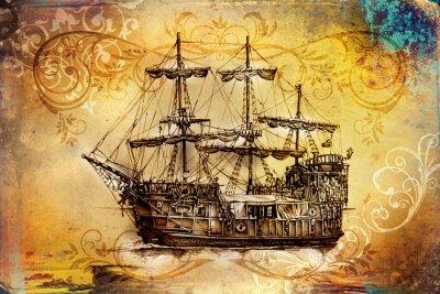 Canvastavlor Fartyg på havet eller havskonstillustrationen