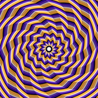 Canvastavlor Fasetterad spiral vridning till centrum. Abstrakt vektor optisk illusion bakgrund.