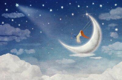 Canvastavlor Fe ridning på en gunga på månen på himlen
