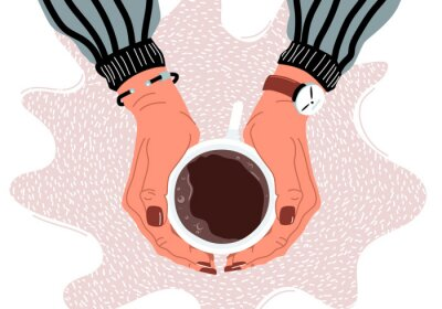 Canvastavlor Female hands holding coffee cup flat vector illustration