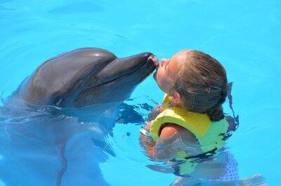 Canvastavlor fille embrassant  un dauphin