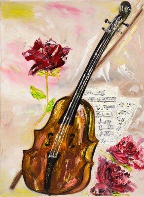 Canvastavlor Fiol och rosor