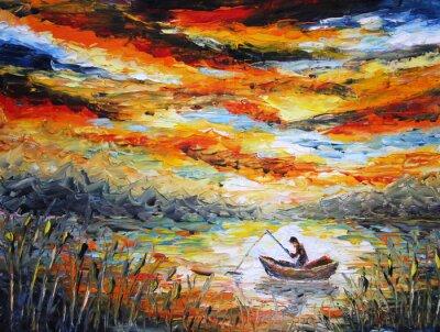 Canvastavlor Fiske, moln, flod. solnedgång, måla. Spatel