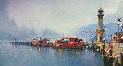 Canvastavlor fiskebåt i hamnen vid morgonen, akvarellmålning stil