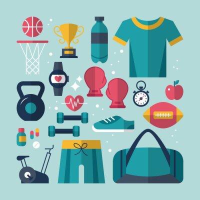 Canvastavlor Fitness och hälsa platta ikoner som