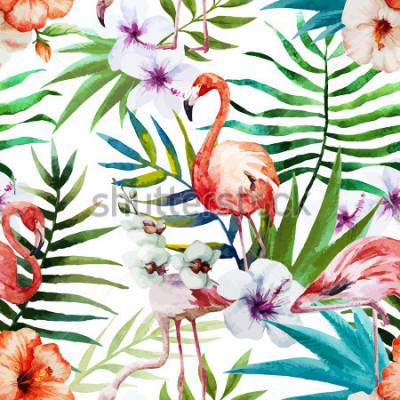 Canvastavlor Flamingos, akvarell, tropikerna, mönster