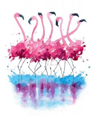 Canvastavlor Flamingos akvarellmålning