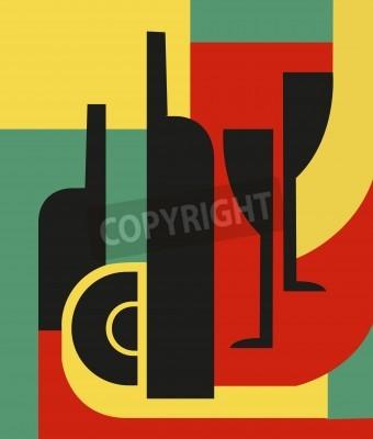 Canvastavlor Flaska och glas Abstrakt komposition