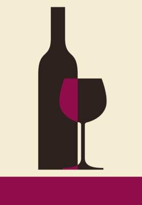 Canvastavlor Flaska vin och glas. Vinlista utformning