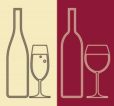 Canvastavlor Flaskor och glas vin och champagne