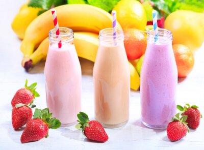 Canvastavlor flaskor smoothie med färsk frukt