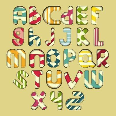 Canvastavlor flerfärgad, randig alfabetet