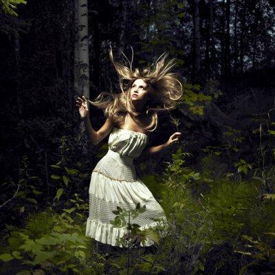 Canvastavlor Flicka i älva skog