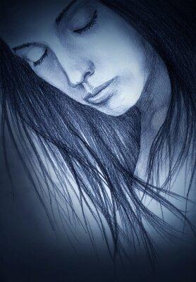 Canvastavlor flicka med slutna ögon