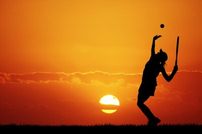 Canvastavlor flicka spela tennis vid solnedgången
