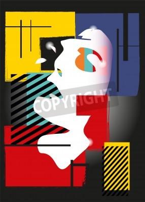 Canvastavlor Flickan i stil med en kubismen. Torg, färger, svart bakgrund