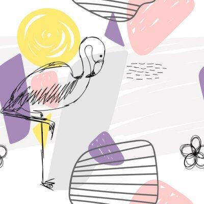 Canvastavlor Floral abstrakt geometriska sömlösa mönster med flamingo.