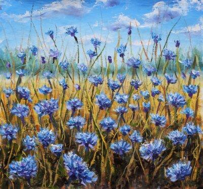 Canvastavlor Flower Field. Blå blommor i ängen. Blå himmel. Oljemålning.