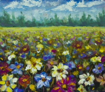 Canvastavlor Flowers field oil painting.