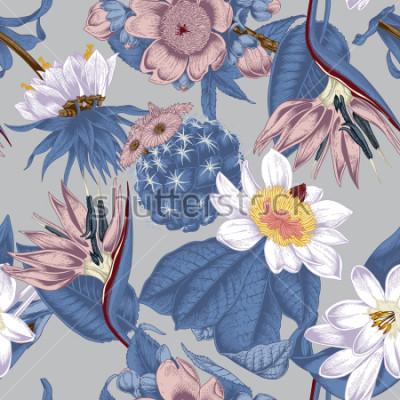 Canvastavlor Flowers. Seamless vector background. Vintage illustration. Exotica. Tropics.