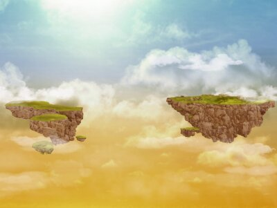 Canvastavlor Flygande öar i himlen.