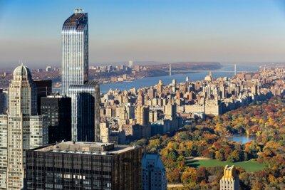 Canvastavlor Flygfoto över Central Park i höst med Upper West Side på Manhattan, New York City. Utsikten omfattar Midtown skyskrapor, Hudson River och George Washington Bridge.