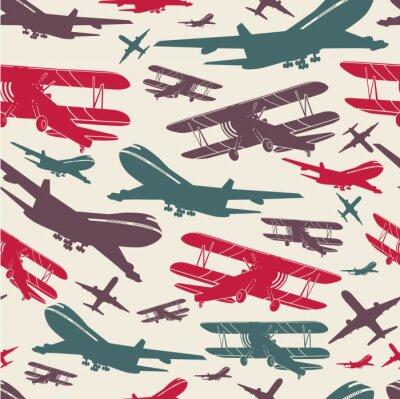 Canvastavlor Flygplan retro sömlös mall, gammal bakgrund texturerad för affisch
