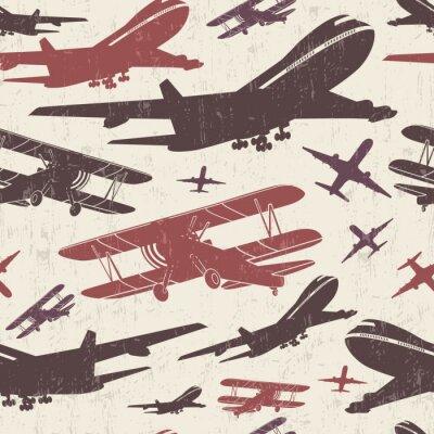Canvastavlor Flygplans retro sömlös mall