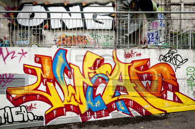 Canvastavlor Fond mur de graffitis