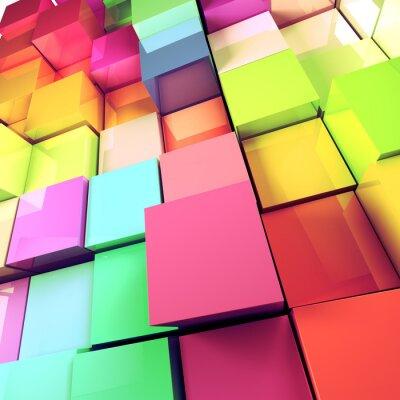 Canvastavlor fondo abstracto de Cubos de colores