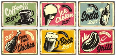 Canvastavlor Food and drinks vintage restaurant signs collection. Set of retro advertisements for coffee, beer, ice cream, club soda, grill and fried chicken. Vector illustration.