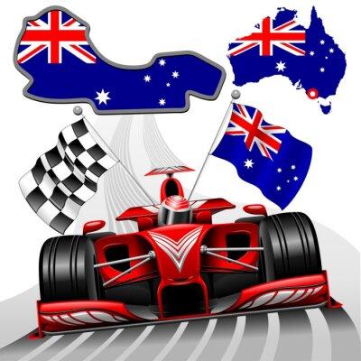 Canvastavlor Formel 1 Red Race Car GP Australien