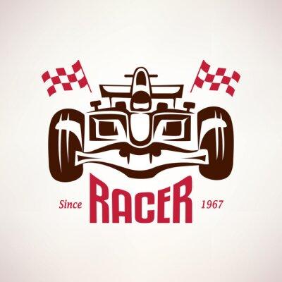 Canvastavlor formel racing bil emblem, ras bolide symbol