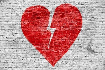 Canvastavlor Formen på brustet hjärta