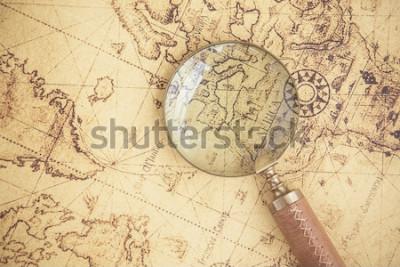 Canvastavlor Förstoringsglas, kartor, finans, företag, turism, prospektering