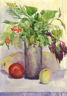 Canvastavlor Fortfarande liv. Bukett, äpple, zucchini, Rowan. akvarellmålning