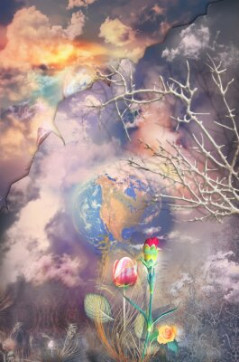 Canvastavlor Förtrollade och fantastiska landskap med färgglada blommor serie