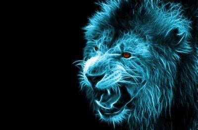Canvastavlor Fractal digital fantasikonsten av ett lejon på en isolerad bakgrund