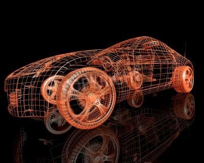 Canvastavlor Framifrån av den moderna modellbilen 3d gör på svart bakgrund