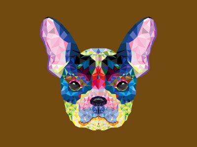 Canvastavlor Fransk bulldog huvudet i geometriskt mönster