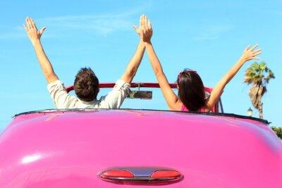 Canvastavlor Frihet - lycklig gratis par i bil