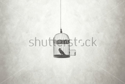 Canvastavlor frihet minimal koncept, fågel i en öppen bur