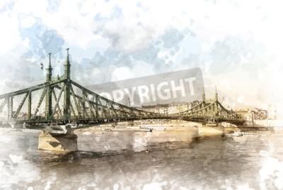 Canvastavlor Frihetsbron i Budapest, Ungern. Turistmål fotografering med sityscape och flod.