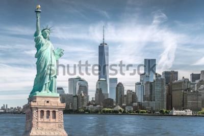 Canvastavlor Frihetsstatyn med World Trade Center-bakgrund, landmärken i New York City