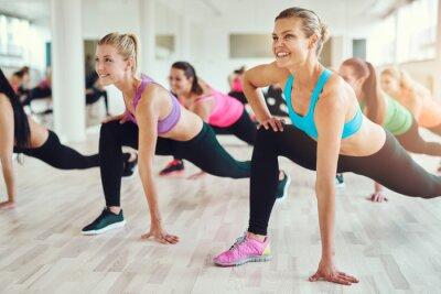 Canvastavlor Friska kvinnor gör fitness