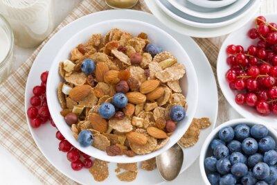 Canvastavlor frukost med spannmål flingor, nötter och bär, ovanifrån